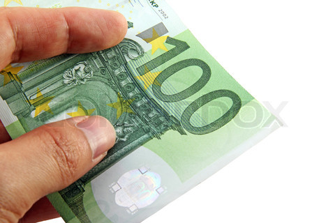 Hand holding a 100 euro bill; including a clipping path
