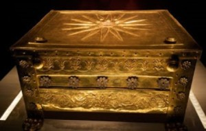 The golden larnax of Philip II of Macedon, the father of Alexander the Great, is on display at the Thessaloniki Archaeological Museum in Thessaloniki, Greece.