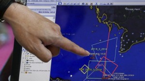 Map of flight plan is seen on computer screen during meeting before mission to find Malaysia Airlines flight that disappeared, on Phu Quoc Island