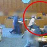 Член на бандата со пенкало се обиде да го убие сведокот среде судење! (Видео)